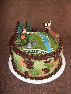 Camo Hunting Cake - Birthday cake for an avid deer hunter.  WASC and buttercreme. TFL