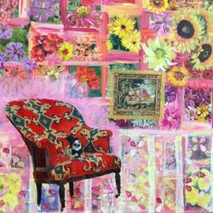The Parlour Chair A darling little dog sits on a decorative chair in a flower-filled library. An original acrylic and paper painting on canvas Original Artwork, Original Paintings, Stylish Chairs, Collage Art Mixed Media, Parlour, Little Dogs, Etsy Shop, Canvas, Flower