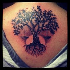 tree and scales of justice tattoos | Rowan tree & Libra Scale tattoo