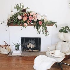 fireplace mantel flower arrangement idea for a party! Amazing florals by @michellelywood & styling by /emthegem/ ✨ #GGathome #GGflorals #flashesofdelight