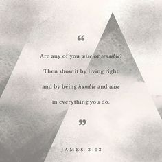 Who is a wise man and endued with knowledge among you? let him shew out of a good conversation his works with meekness of wisdom. James 3:13 KJV http://bible.com/1/jas.3.13.KJV