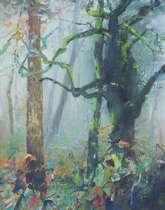 Rainforest Autumn-Pacific Northwest, painting by artist Randall David Tipton Impressionist Landscape, Abstract Landscape Painting, Watercolor Landscape, Landscape Art, Landscape Paintings, Landscapes, Painting Trees, Art Paintings, Art Painting Gallery