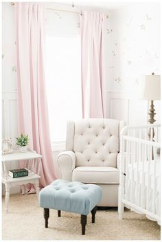 Hightailing in High Heels: Baby Nursery Inspiration - Grey, Blush, Cream & Dusty Blue Target End Tables, Sophisticated Nursery, Painted Fox Home, Best Closet Organization, Changing Table Dresser, Baby Girl Nursery Themes, Chalkboard Designs, Nursery Curtains, Floral Nursery