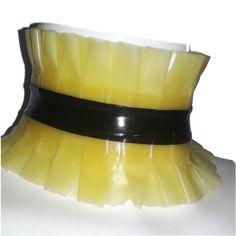 Latex rubber COLLAR WITH FRILLS TV  UNISEX FETISH SMALL MEDIUM LARGE XL XXL