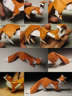 Foxes from 1 uncut square each model - DIY/Crafting - Origami Origami 3d, Origami Design, Origami Star Box, Origami Dragon, Paper Crafts Origami, Origami Easy, Paper Crafting, Origami Models, Origami Hearts