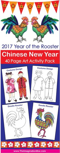 Let's welcome the Year of The Rooster 2017 with color, imagination and fun! This detailed creative Chinese New Year Art activity pack has been designed to enthuse and engage children in a fun, experimental way. The templates and activities aim to encourage the exploration of color, shape, abstract pattern and graphic design whilst also providing Chinese New Year themed decor for the classroom or home.