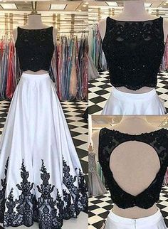 2 Pieces Black And White A-line Lace Top Open Back Prom Dresses Lace Prom Dresses Prom Dress Black Prom Dresses Black Lace Prom Dresses Lace White Prom Dresses Prom Dresses 2020 Prom Dresses Two Piece, A Line Prom Dresses, Lace Evening Dresses, Cheap Prom Dresses, Quinceanera Dresses, Homecoming Dresses, Lace Dress, Dress Prom, Prom Gowns