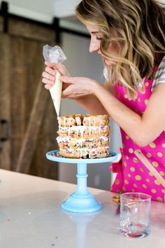 How to Make a Waffle Cake | In my opinion, celebration means party and a party means CAKE!  I decided to try something really different…a waffle cake! || JennyCookies.com #wafflecake #birthdaycake #wafflerecipe