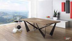 Mesa de comedor en madera maciza con detalle de nácar y patas de metal óxido marrón