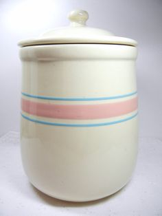 McCoy cookie jar / pink and blue striped Mc Coy by VintageHand, $17.80