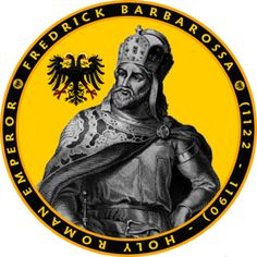 FEATURES THE PORTRAIT OF FREDRICK BARBAROSSA HOLY ROMAN EMPEROR. IMAGE SHOWN ON THE BACK AND FRONT POCKET AREA. Nuns Habits, Holy Roman Empire, Roman Emperor, Knights Templar, European History, Roman Catholic, Image Shows, Colorful Shirts, Seal