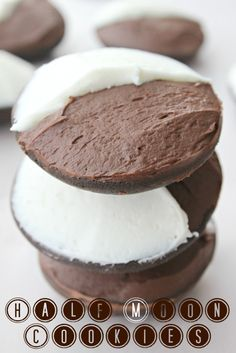Half Moon Cookies-chocolate cake-like cookie with chocolate fudge frosting and vanilla butterream-YUM! |sneaksandsweets|