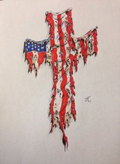 On this post you can see American Flag On Cross Tattoo - Tattoos Ideas in an interesting style. Look at the photos and sketches of the American Flag On Cross Tattoo. Patriotische Tattoos, Army Tattoos, Badass Tattoos, Star Tattoos, Sleeve Tattoos, Cross Tattoos, Tatoos, Awesome Tattoos, American Spirit