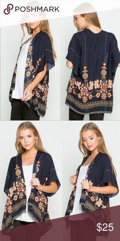 8edf2a6872 Floral Print Kimono Shrug in Navy Beautiful shrug