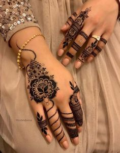 Browse the latest Mehndi Designs Ideas and images for brides online on HappyShappy! We have huge collection of Mehandi Designs for hands and legs, find and save your favorite Mehendi Design images. Arabic Bridal Mehndi Designs, Full Hand Mehndi Designs, Mehndi Designs For Girls, Mehndi Designs For Fingers, Beautiful Henna Designs, Simple Mehndi Designs, Henna Tattoo Designs, Mehandi Designs, Latest Finger Mehndi Designs