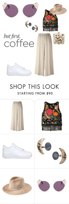 """""""But first, coffee"""" by doratemplam ❤ liked on Polyvore featuring Theory, Alice + Olivia, NIKE, Bjørg, Emilio Pucci, Eugenia Kim and Fendi"""