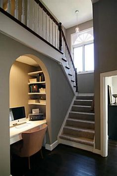 under stair closet will make a great study nook