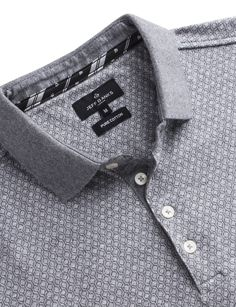 Jeff Banks Grey Geo Jacquard Polo