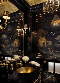 Home Design and Decor , Asian Style Home Decor Ideas : Powder Room With Chinese Asian Style Home Decor With Gold Undermount Sink And Faucet And Mirror Wuth Sconces And Black Walls With Art Black Interior Design, Interior And Exterior, Modern Interior, Gold Interior, Interior Office, Modern Luxury, Luxury Interior, Architectural Digest, Home Design
