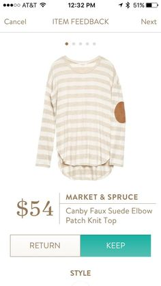 Please send!!! I love cream tops & love elbow patches, but don't have any in my wardrobe...this would be perfect!