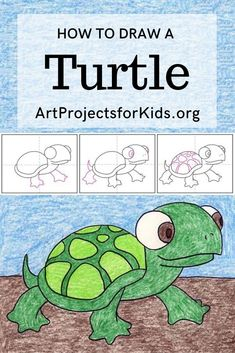 Learn how to draw a cute turtle with three easy step by step tutorials! Each offers a different look of these unique creatures. Easy Turtle Drawing, Cute Turtle Drawings, Art Drawings For Kids, Drawing For Kids, Easy Drawings, How To Draw Turtle, Drawing Ideas, Art Lessons For Kids, Projects For Kids