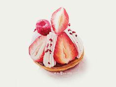 大瞿ava|甜品水彩插画-草莓塔 - 堆糖 发现生活_收集美好_分享图片
