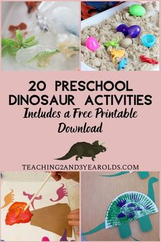 This collection of 20 Dinosaur Preschool Activities contains sensory, art, and large motor activitie Counting Activities, Toddler Activities, Motor Activities, Vocabulary Activities, Dinosaurs Preschool, Preschool Crafts, Free Preschool, Preschool Classroom, Daycare Curriculum