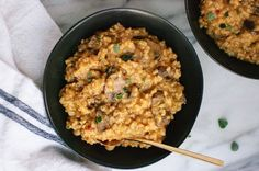This brown rice risotto with mushrooms and fresh oregano may not look the prettiest but it will certainly be the tastiest thing you eat today!