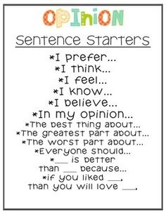Opinion sentence writing prompts. Great for supporting diverse learners.