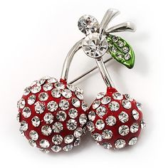 $19.78 Tend to your growing collection of fabulous jewellery with this yummy Clear Crystal Red Double Cherry Fashion Brooch. Featuring a classic cherry design, heavily encrusted with clear crystals for a fabulous fruity finish. The cherry brooch crafted in rhodium plated finish, covered with enameled detailing in hues of red and green. It measures about 50mm x 37mm and fastens with a flag pin and revolver clasp.