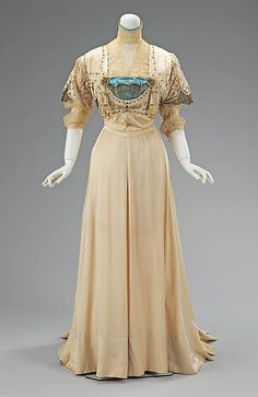 In light of the fact that this was the period where neutrals/pastels were considered lady-like colours, I especially love the small pop of turquoise!  Evening Dress 1908-1910 The Metropolitan Museum of Art - OMG that dress!
