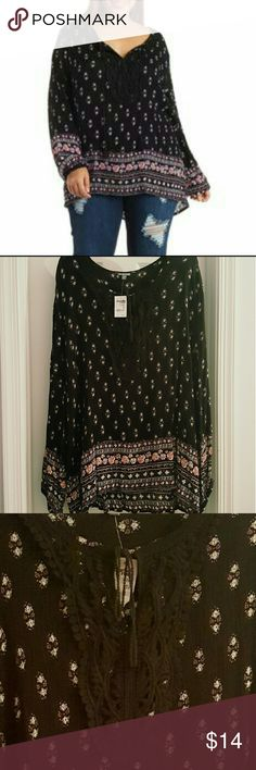NWT! CHARLOTTE RUSSE Peasant Boho Top New with tags. Very flattering and relaxing style with pretty crochet and ribbon detail. Charlotte Russe Tops