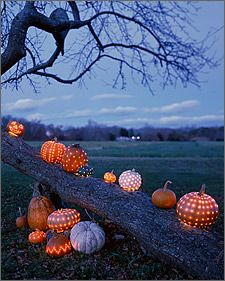 pumpkin luminaries; patterns on pumpkins instead of faces