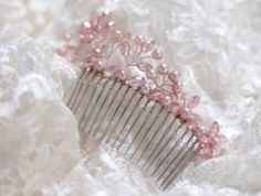 Handmade pink pearl and crystal floral Bridal occasion wedding Comb