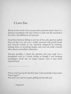 I Love You by Lang Leav