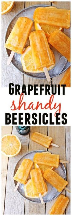 3 ingredient treats! Grapefruit shandy beersicles are a delicious blend of grapefruit juice and IPA, frozen into a beer popsicle! Vegan, vegetarian, super simple recipe. // Rhubarbarians