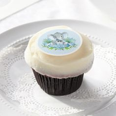 Blue Elephant Baby Shower Cupcake Topper Frosting Edible Frosting Rounds - shower gifts diy customize creative
