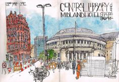 My latest #countdown to the #symposium sketch #usk #uskmanchester2016 #centrallibrary #midlandhotel #stpeterssquare #watercolour #penandink #concertina | por Liz Ackerley Scribbles