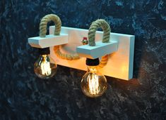 Wall hanging lamp Housewarming gift Wooden sconce lighting rustic industrial Double Edison light fixture Wood bedside lamp handmade rope #sconce #walllamp #woodlamp #pendantlight #edisonlamp #rope