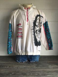 dd1b4aa2a2 Adidas Windbreaker Vintage 80s 90s Hooded Rare Abstract Jacket Warmup Art  Hip Hop Neon Retro Coat