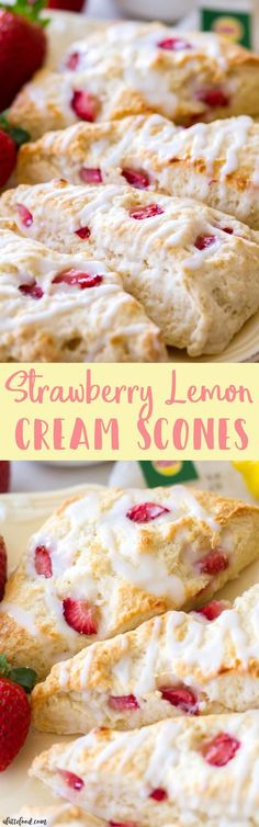 These easy homemade strawberry lemon cream scones are filled with fresh strawberries and fresh lemon juice! These are the best homemade scone recipe, and these are the perfect brunch recipe!