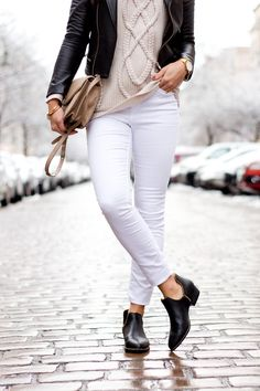 white jeans and black booties