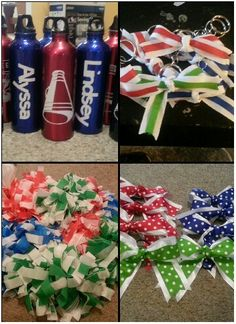 Cheerleading Birthday Party.  Clockwise:  Water bottles made with cricut vinyl, cheer bow key chains, cheer hair bows,  and homemade tablecloth poms.