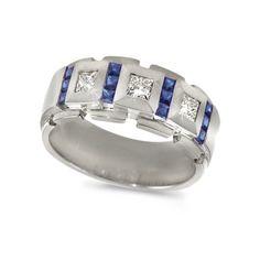 Men's Diamond Ring - Sapphire/Diamond Block Men's Band in 18k White Gold (.65 dia / .85 sap ct. tw. / G Color / VS1-VS2 Clarity) - 7 CleverEve,http://www.amazon.com/dp/B002GKGXJE/ref=cm_sw_r_pi_dp_a7eptb06ATFG2KEP