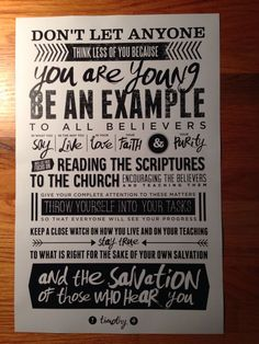 Scripture typography for our student ministry verse.: