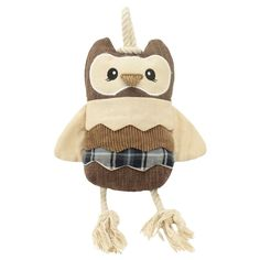 Squeaker & Rope Owl Dog Toy Blue (Medium) - Boots & Barkley, Brown
