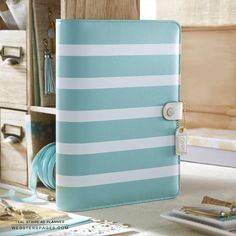 A5 Teal Stripe Webster's Pages Color Crush Planner Kit • FREE WASHI TAPE with this order