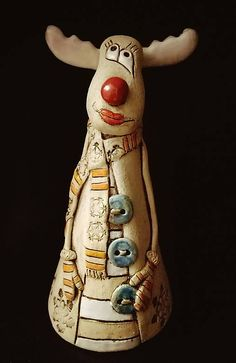 echt Terracotta Terrakotta Garten Deko Elfe Kopf Figur Weihnachten Nikolaus 44 cm hoch