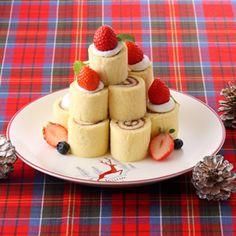 ミニロールケーキツリー|レシピ・ノート|お菓子百科クラブ - OKASHI HYAKKA CLUB-