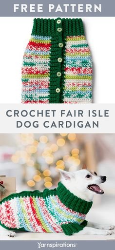 Free crochet pattern using Red Heart Super Saver yarn. The body is worked in Red Heart Super Saver Fair Isle and features a contrast button band collar and sleeves Crochet Dog Sweater Free Pattern, Knit Dog Sweater, Dog Sweaters, Cardigan Pattern, Baby Cardigan, Knitting Patterns, Crochet Ideas, Crochet Gratis, Red Heart Yarn